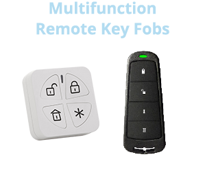 wireless remote key fobs to control security system